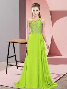 Chiffon One Shoulder Sleeveless Side Zipper Beading Prom Evening Gown in Yellow Green