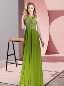 Chiffon Sleeveless Floor Length and Beading