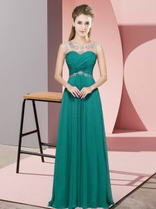 Ideal Scoop Sleeveless Evening Dress Floor Length Beading Turquoise Chiffon