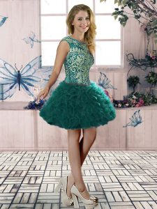 Sleeveless Mini Length Embroidery and Ruffles Lace Up Prom Dresses with Dark Green