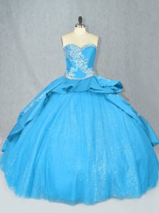 Fancy Sweetheart Sleeveless Court Train Lace Up Sweet 16 Quinceanera Dress Baby Blue Satin and Tulle