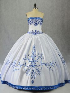 Blue And White Ball Gowns Satin Strapless Sleeveless Embroidery Floor Length Lace Up Ball Gown Prom Dress