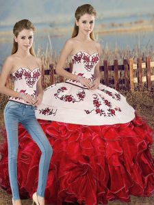Most Popular White And Red Two Pieces Sweetheart Sleeveless Organza Floor Length Lace Up Embroidery and Ruffles and Bowknot Ball Gown Prom Dress