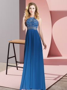 On Sale Floor Length Royal Blue Prom Dresses Chiffon Sleeveless Beading