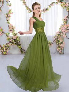 Olive Green Empire One Shoulder Sleeveless Chiffon Floor Length Lace Up Ruching Dama Dress for Quinceanera