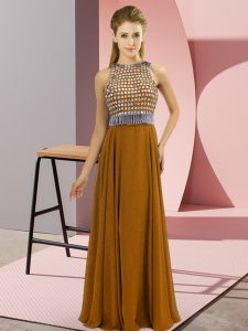 Floor Length Side Zipper Prom Gown Brown for Prom and Party with Beading