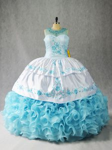 Extravagant Scoop Sleeveless Sweet 16 Dress Floor Length Beading and Embroidery and Ruffles Baby Blue Fabric With Rolling Flowers