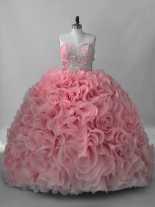 Pink Sleeveless Fabric With Rolling Flowers Brush Train Lace Up Quince Ball Gowns for Sweet 16 and Quinceanera