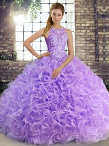 Wonderful Floor Length Ball Gowns Sleeveless Lavender Ball Gown Prom Dress Lace Up