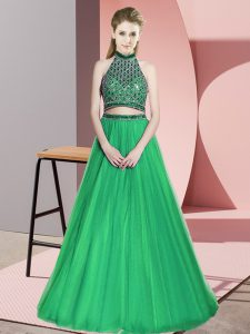 Green Three Pieces Halter Top Sleeveless Tulle Floor Length Lace Up Beading Prom Party Dress
