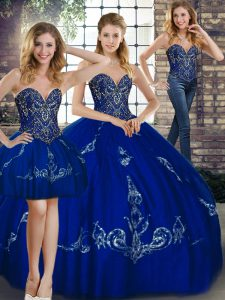 Great Royal Blue Sleeveless Tulle Lace Up 15th Birthday Dress for Military Ball and Sweet 16 and Quinceanera
