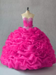 Fuchsia Ball Gowns Sweetheart Sleeveless Organza Floor Length Lace Up Beading and Pick Ups and Hand Made Flower 15 Quinceanera Dress