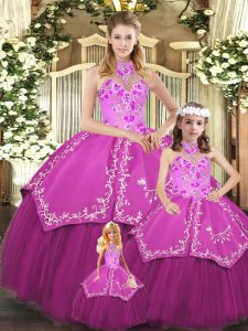 Embroidery Quinceanera Dresses Fuchsia Lace Up Sleeveless Floor Length