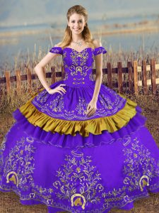 Glorious Purple Lace Up Quinceanera Dresses Embroidery Sleeveless Floor Length
