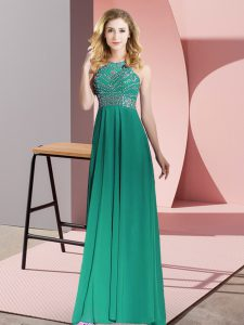 Extravagant Dark Green Backless Scoop Beading Prom Dresses Chiffon Sleeveless
