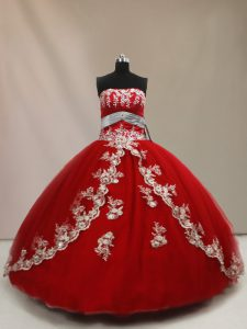 Pretty Red Lace Up Quinceanera Gowns Appliques Sleeveless Floor Length