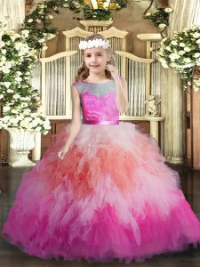 Scoop Sleeveless Backless Glitz Pageant Dress Multi-color Tulle