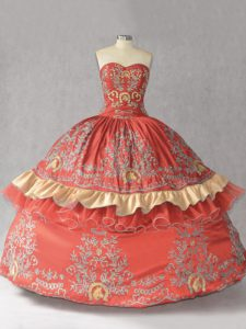 Rust Red Sleeveless Satin and Organza Lace Up Quinceanera Dress for Sweet 16 and Quinceanera