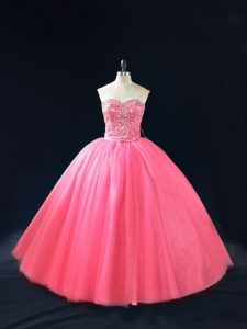 Hot Pink Ball Gowns Sweetheart Sleeveless Tulle Floor Length Side Zipper Beading Quinceanera Dress