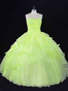 Affordable Floor Length Ball Gowns Sleeveless Yellow Green Quinceanera Gown Lace Up