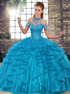 Fantastic Floor Length Blue Quinceanera Dresses Tulle Sleeveless Beading and Ruffles