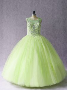 Free and Easy Yellow Green Tulle Lace Up Ball Gown Prom Dress Sleeveless Floor Length Beading