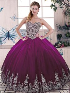 Classical Fuchsia Ball Gowns Beading and Embroidery Quinceanera Dresses Lace Up Tulle Sleeveless Floor Length