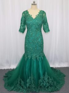 Half Sleeves Brush Train Lace Up Lace and Appliques Evening Dress