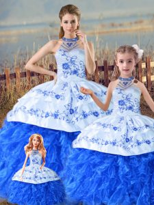 Glorious Floor Length Lace Up Quinceanera Gown Blue And White for Sweet 16 and Quinceanera with Embroidery and Ruffles Court Train
