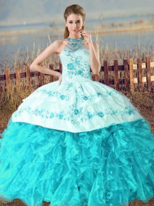 Organza Halter Top Sleeveless Court Train Lace Up Embroidery and Ruffles Quince Ball Gowns in Aqua Blue