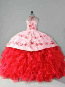 Romantic Red Ball Gowns Halter Top Sleeveless Organza Court Train Lace Up Embroidery and Ruffles Sweet 16 Dress