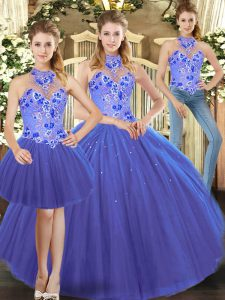 Custom Made Blue Sleeveless Embroidery Floor Length Quinceanera Gown