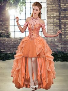 Stylish Sleeveless Tulle High Low Lace Up Dress for Prom in Orange with Beading and Ruffles