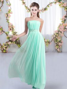 Sleeveless Beading Lace Up Court Dresses for Sweet 16 with Aqua Blue Sweep Train
