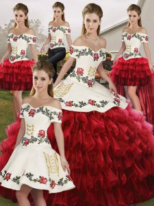 Off The Shoulder Sleeveless Quinceanera Dress Floor Length Embroidery and Ruffled Layers Wine Red Organza