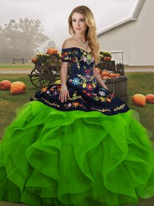 Cheap Embroidery and Ruffles Sweet 16 Dress Green Lace Up Sleeveless Floor Length