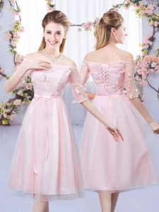 Tea Length Lace Up Quinceanera Court of Honor Dress Baby Pink for Wedding Party with Lace and Belt
