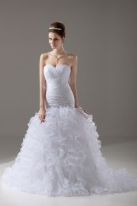 Sleeveless Organza Brush Train Lace Up Wedding Gown in White with Beading and Ruffles