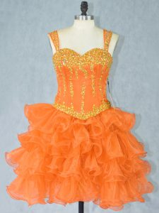 Nice Orange Straps Neckline Beading and Ruffled Layers Prom Dresses Sleeveless Lace Up