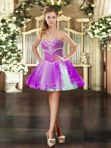 Purple Sleeveless Mini Length Beading Lace Up Prom Dresses