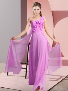 Empire Quinceanera Court of Honor Dress Lilac One Shoulder Chiffon Sleeveless Floor Length Lace Up
