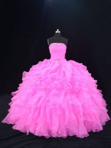 Popular Pink and Rose Pink Sleeveless Organza Lace Up 15th Birthday Dress for Sweet 16 and Quinceanera