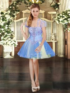 Low Price Lavender Ball Gowns Tulle Strapless Sleeveless Beading and Lace Mini Length Lace Up Dress Like A Star