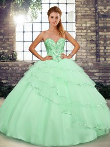 Artistic Tulle Sweetheart Sleeveless Brush Train Lace Up Beading and Ruffled Layers Quinceanera Gowns in Apple Green