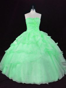 Low Price Ball Gowns Quinceanera Gown Sweetheart Organza Sleeveless Floor Length Lace Up