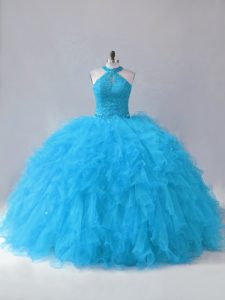 Custom Fit Tulle Halter Top Sleeveless Lace Up Beading and Ruffles 15 Quinceanera Dress in Blue