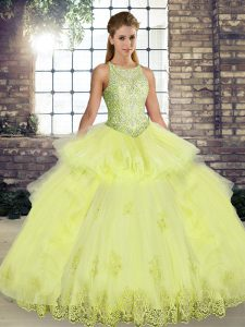 Delicate Scoop Sleeveless Lace Up Vestidos de Quinceanera Yellow Tulle