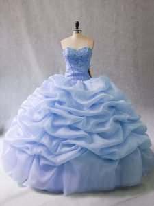 Pretty Light Blue Ball Gowns Organza Sweetheart Sleeveless Beading and Pick Ups Lace Up 15th Birthday Dress