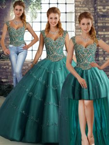 Smart Teal Tulle Lace Up Straps Sleeveless Floor Length Sweet 16 Dress Beading and Appliques