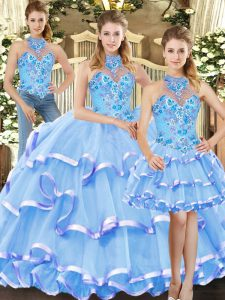 Blue Three Pieces Organza Halter Top Sleeveless Embroidery and Ruffled Layers Floor Length Lace Up Ball Gown Prom Dress